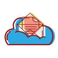 dados em nuvem e cartão com informações do documento vetor