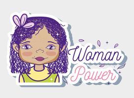 Desenhos animados de garota de poder de mulher vetor