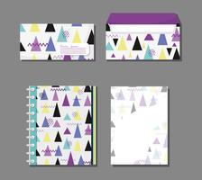 Cadernos Memphis e envelopes mock up