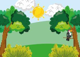 Cenário de floresta pixelizada vetor
