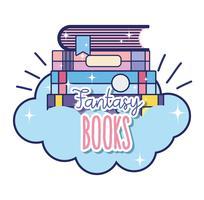 Livros de fantasia e magia vetor