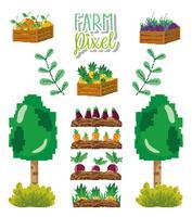 Desenhos animados de pixel de fazenda vetor