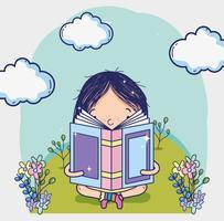 Linda garota lendo um livro dos desenhos animados vetor