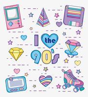 Eu amo desenhos animados dos anos 90 vetor