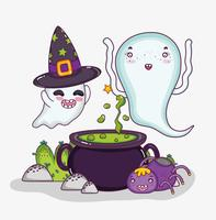 Desenhos animados bonitos do dia das bruxas dos fantasmas