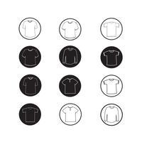 Conjunto de camisa de vestuário e t-shirt Ícone de roupa ícones vetor