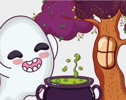 Desenho de halloween fantasma bonito