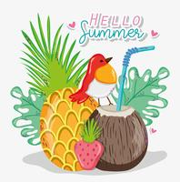 Olá cartão de verão vetor