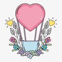 balões de ar do coração com flores e folhas