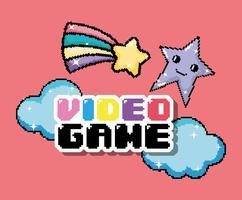 Desenhos animados de pixel de videogame vetor