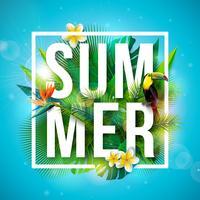 Projeto tropical das férias de verão com a flor do pássaro e do papagaio do tucano no fundo azul. Ilustração vetorial com folhas de palmeira exóticas