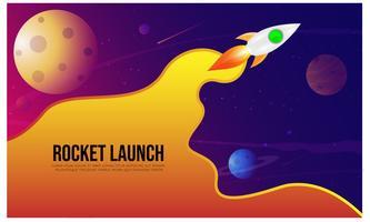 Lançamento de Rocket, ship.vector, conceito da ilustração do produto do negócio em um mercado.