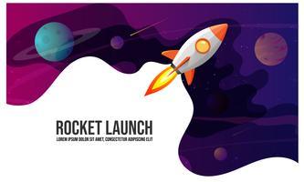 Lançamento do foguete e fundo do espaço com forma abstrata e planetas. Web design. exploração espacial. ilustração vetorial