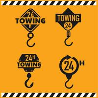 Serviço de reboque de carro, 24 horas, caminhão, ícone isolado ou logotipo em fundo amarelo, auto serviço, reparação de automóveis