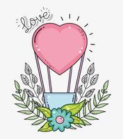 balão de ar do coração com flores e folhas