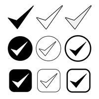 Ícone de carrapato simples aceitar sinal de aprovação vetor