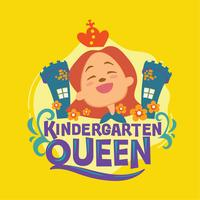 Ilustração da frase da rainha do jardim de infância. Volta às citações da escola