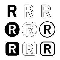 Sinal de símbolo de ícone de marca registrada vetor