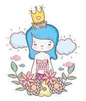 sereia mulher vestindo coroa com flores e folhas vetor