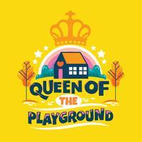 Rainha da frase de recreio, jardim de infância com arco-íris e coroa fundo, volta para ilustração de escola