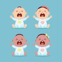 Conjunto de sentado e chorando pouco caucasiano bebê e bebê preto, menino e menina