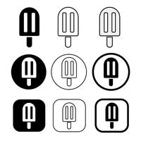conjunto de sorvete simples ícone vetor