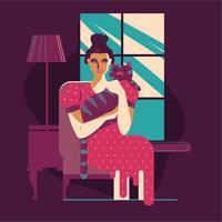 Garota e gato gentil no sofá vetor