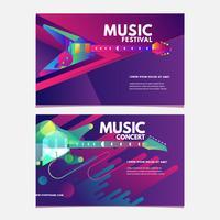 Cartaz do Festival de música de ilustração ou modelo colorido de Banner