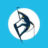 Alpinista. Homem atlético subindo a falésia vetor