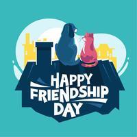 Feliz Dia da Amizade. Cão e gato brincando no telhado