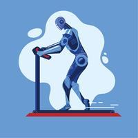 Robô funciona em uma esteira faz esporte Fitness trabalhando no conceito de ginásio