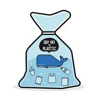 A baleia em um saco plástico diz não ao plástico. Conceito de problema de poluição. vetor