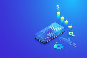 Estatísticas de análise de dados móvel isométrica 3D, visualização de dados, pesquisa, planejamento, estatísticas e vetor de conceito de gestão.