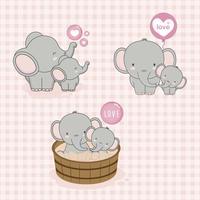 Adorável mãe e bebê elefante com amor. vetor