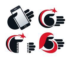 Ícones do vetor de objetos nas mãos