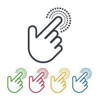 Clique nos ícones com cursores de mão vetor
