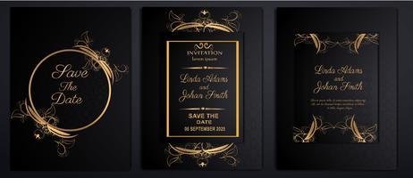 cartões de convite de casamento de luxo vetor