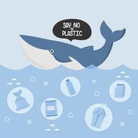 Pare a poluição do plástico do oceano. Lixo e baleia plásticos no oceano. vetor