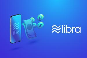 Isométrica da moeda digital do libra, do bitcoin e do dinheiro com transações do smartphone, do Libra e conceito da tecnologia da criptomoeda.