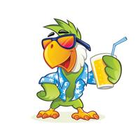 Papagaio com copo de suco vetor