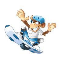 Macaco pulando com placa de foco