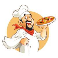 Chef de pizza dos desenhos animados