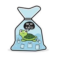 A tartaruga em um saco de plástico diz não ao plástico. Conceito de problema de poluição.