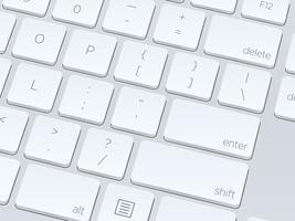 Teclado de computador em branco branco, close-up de imagem vetorial vetor