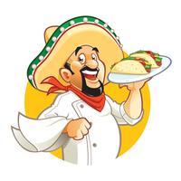 Cozinheiro chefe mexicano segurando o prato com tacos vetor
