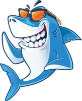 Tubarão com óculos de sol vetor