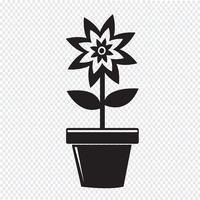 Ícone de vaso de flores vetor