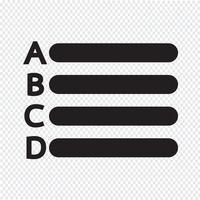 Ícone de lista de letras de texto vetor