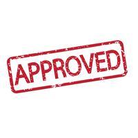 selo aprovado com texto vermelho vetor