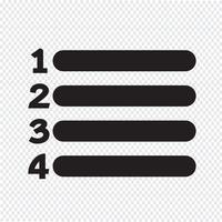 Sinal de ícone de lista de números vetor